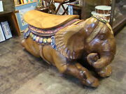 Giant Carved Solid Wood And Hand Painted Elephant Bench-chair From Bali