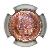 1907 Ms66 Rb Ngc Indian Head Penny Premium Quality Superb Eye-appeal