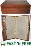 Antique Wooden Table Top Secretary Desk Stationary Cabinet Tabletop 0 Ship