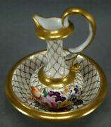 Early 19th Cent British Hand Painted Gold Net And Floral Mini Pitcher And Wash Basin