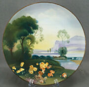 Nippon Morimura Hand Painted Yellow Roses Mountains Lake Landscape Scene Plate