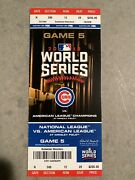 2016 Chicago Cubs Vs Cleveland Indians World Series Ticket Stub Game 5 Wrigley