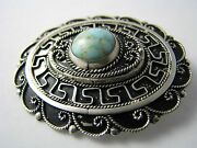 Sterling Silver Pendant Brooch Pin Turquoise Filigree Palestine Middle East