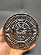 Old Stone Cookie Maker Mold Hand Carved Floral Line Work Rolling Plate Dye