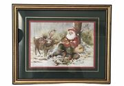 Santa Claus And Reindeer Print By Peggy Abrams Home Interiors And Gifts Frame