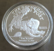 1988 2 Oz Troy Tackled Football Norman Rockwell .999 Fine Silver 1772 Capsule