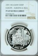 2001 Belgium Silver 500 Francs Europa And Bull Ngc Pf 69 Ultra Cameo Great Coin
