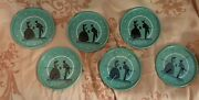 Vintage Jadeite Green And Black Metal Coasters - Man And Women 3andrdquo Set Of 6