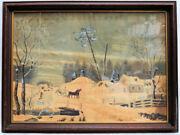 1830's American Original Watercolor Drawing Pre-currier And Ives Glass Framed