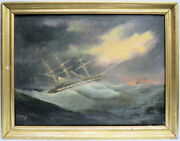 William Brebner 1789- 1866 English Maritime Painting Ship In Storm At Sea