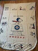 Vintage Snoopy Red Baron Charlie Brown Bed Spread Cover 102x77 1 Tear 1 Hole