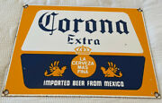 Vintage Corona Extra Beer Porcelain Sign Mexico Liqour Gas Station Motor Oil