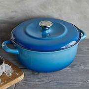 Enameled Iron Azure Blue Dutch Oven Cast Iron Material Oven Safe Hand Wash Only