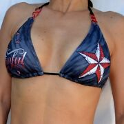New Sinful By Affliction Elvira Bikini Top Size M Black Star And Spellout Tattoo