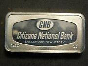 Citizens National Bank New Jersey Sterling Silver Bar .925 66 Grams Rare