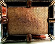Vintage Art Deco Enamel Picture Frame With Tiger's Eye And Rhinestone-heavy Brass