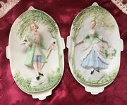 Chase Porcelain Wall Plaques Occupied Japan Victorian Lord And Lady Figurines