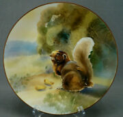 Nippon Morimura Hand Painted Relief Molded Squirrel And Nuts Plate Circa 1911-1921