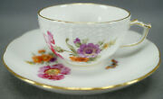 Kpm Berlin Hand Painted Dresden Floral Butterfly And Gold Tea Cup And Saucer C