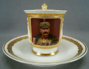 Kpm Berlin Hand Painted Wwi Wilhelm Ii Portrait Figural Wing Handle Cup And Saucer