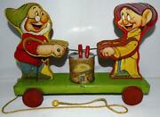 Disney 1937 Doc And Dopey Wooden Pull Toy 770 By Fisher Price-scarce High Grade