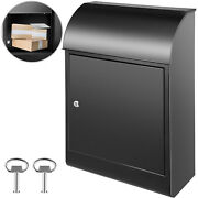 Vevor Steel Extra Large Wall Mount Locking Outdoor Paper Mail Black Drop Box