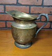 Antique Silver On Copper Pitcher With Handle Water Jug By F.b.r. Taunton Rogers