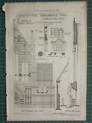 1877 Dated Architectural Print St Mary Middlesborough Yorks West Front Details