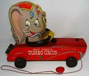 Scarce Ex 1941 Disney's Dumbo Circus Racer Pull Toy738 By Fisher Price-works