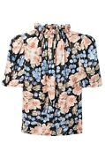 Nwt Rebecca Taylor Blue Link Floral Ruffle Neck Silk Short Sleeve Blouse Size L