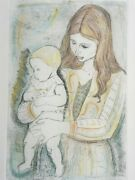 Signed Irving Amen 1918-2011 - Mother And Daughter - Lithograph Art Judaica Print