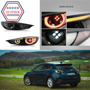 2x Led Sequential Smoked Tail Lights Set Fits For 14-2018 Mazda 3 Sedan