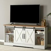 Tv Stand Sliding Barn Door Wood Console Table With Storage Cabinets Up To 65