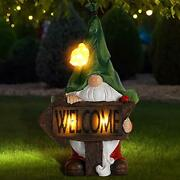 Garden Gnome Statuegreen Hat Welcome Resin Statue With Solar Led