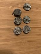 Lot 6 Pack Vtg Buttons Metzke Shillings Antiqued Pewter New Old Stock 1/2andrdquo 1977