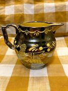 Grayand039s Pottery For Mottahedeh 5.5 Silver Lusterware Canary Yellow Pitcher