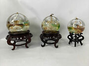 Refillable Iridescent Ball Glass Oil Lamp Candles Set Of 3 With Stand