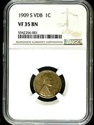 1909 S Vdb Lincoln Wheat Cent Very Fine 35 Brown Certified By Ngc