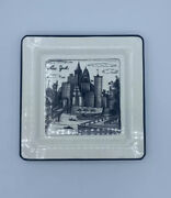 New York Brunelli Cities Black Grey And White Square Dinner Plate 10 1/4 Italy