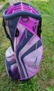 Nike Golf Cart Bag Fuschia/anthracite With Removable Cap.
