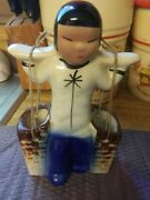 Vintage Ceramic Asian Girl Carrying Water Buckets 6'' T 3.5'' W