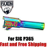 Faxon Match Grade Straight Fluted Drop-in 9mm Barrel For Sig P365 -chameleon Pvd