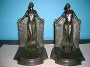 Antique Lady Columbia Statue Of Liberty Bookends Gorham Founders Bronze 8 Lbs