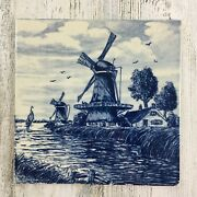Delft Blauw Holland Hand Painted Windmill And Water Dutch Tile Trivet Vtg