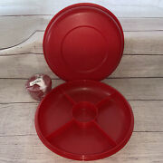 Tupperware Red Serving Divided Relish Tray 1708 Lid 1709 And Condiment Cup 4914