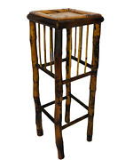 Antique Bamboo Chinoiserie Square Plant Stand Table