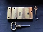 One Reclaimed Antique Brass Georgian Patterned Lock With Key And Keep Bts291