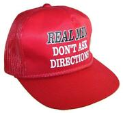 Real Men And039donand039t Ask Directionsand039 Red Trucker Mesh Snap Back Baseball Cap Hat -ht1