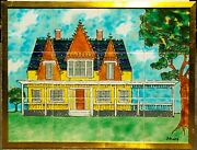 Harris G. Strong Framed Colorful Hand Painted Homestead Signed Tile Art