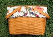 Longaberger 2002 Large Picnic Basket With Floral Liner And Attached Lid